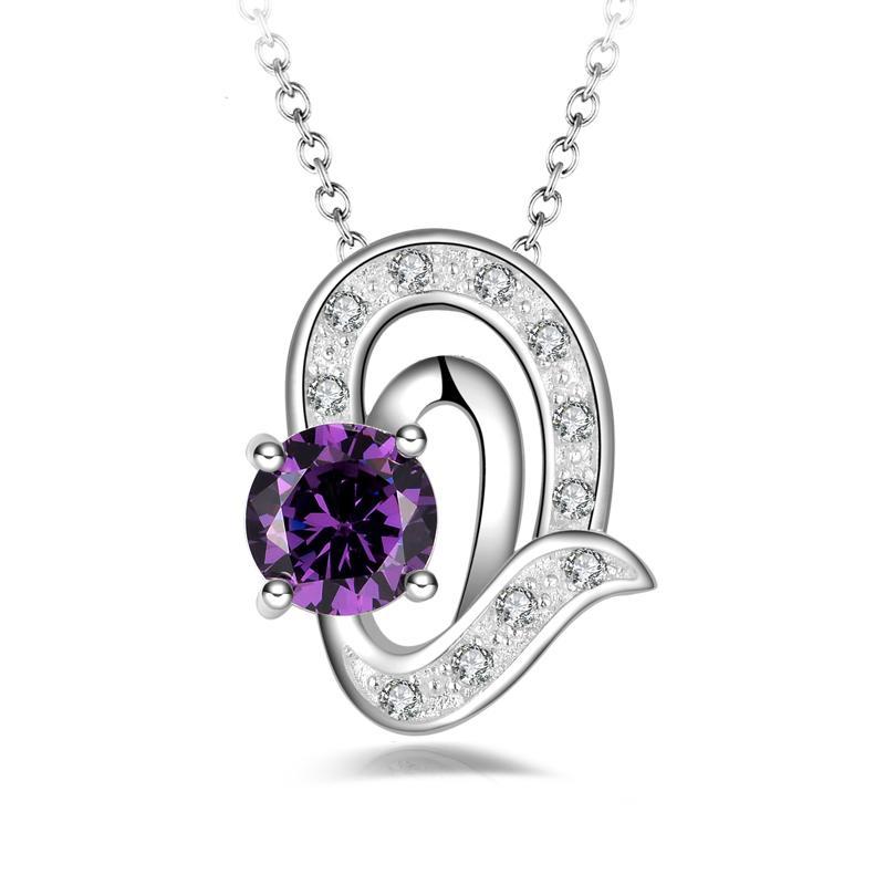 O envio gratuito de moda de alta qualidade 925 prata Anjo Lágrimas Roxo diamante jóias 925 colar de prata presentes do feriado do Dia Dos Namorados hot 1665