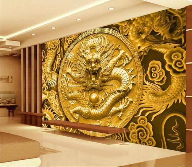 3d wallpaper TV background wallpaper the living room sofa backdrop mural Embossed golden eagle dragon mural wallpaper 20156332