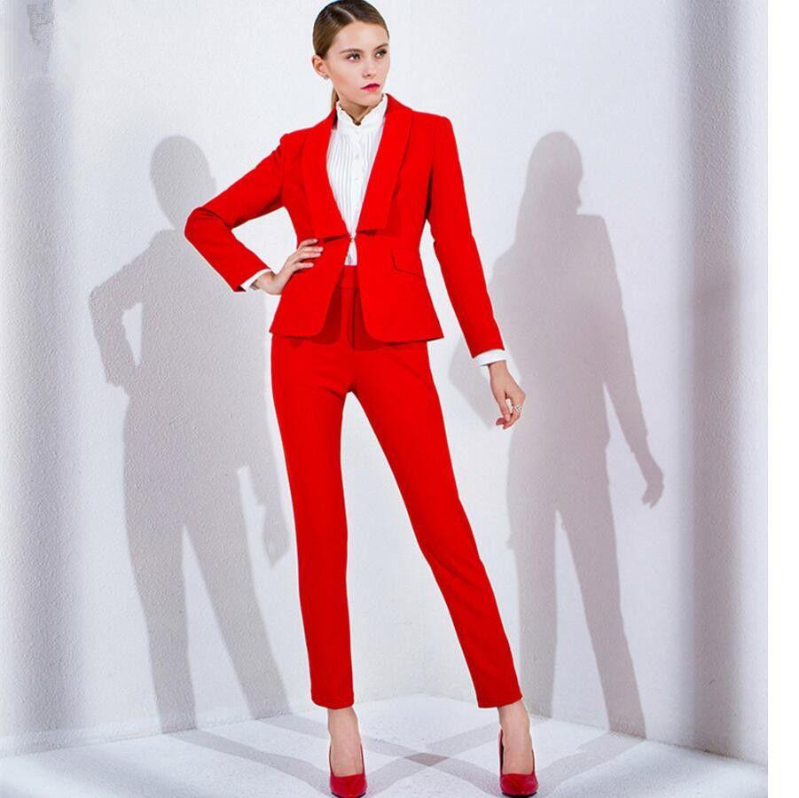 best website 196c9 bb0e6 Acquista Pantaloni Da Donna Rosso Lavoro Business Formale Elegante 2 Pezzo  Giacca Pantaloni Forniture Ufficio Personalizzazione Delle Donne A $107.89  ...