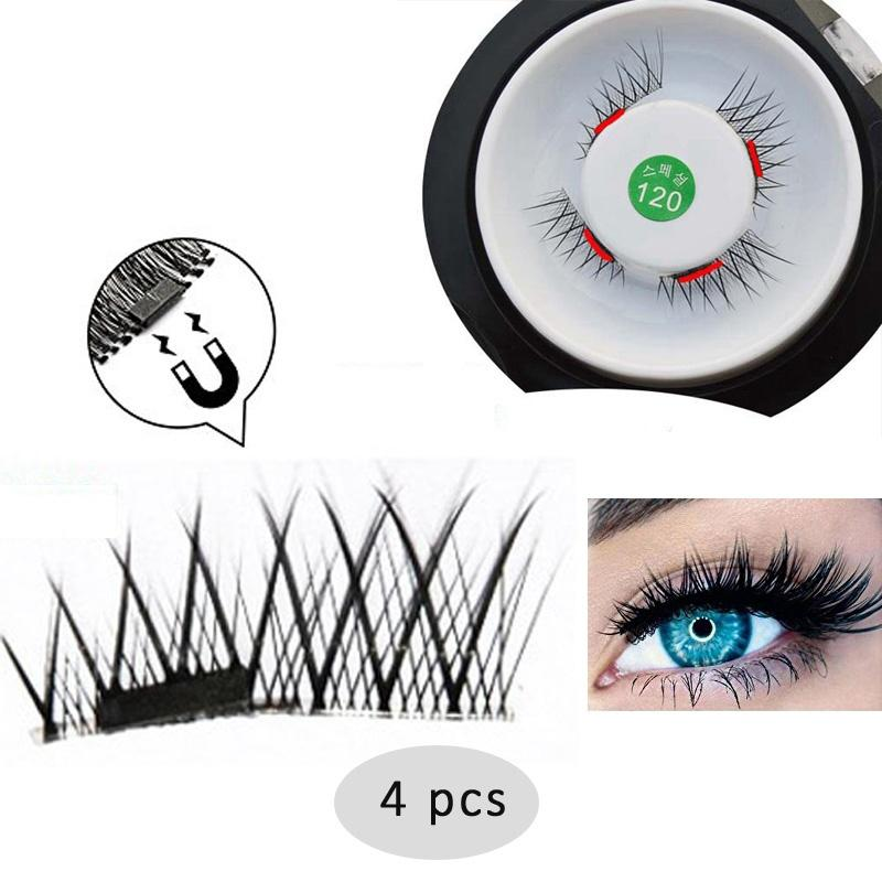 الأزياء reusable المغناطيسي الرموش اليدوية الأسود الألياف سميكة عبر وهمية رمش عيون عارية الطبيعي ماكياج رمش ملحقات 1 زوج