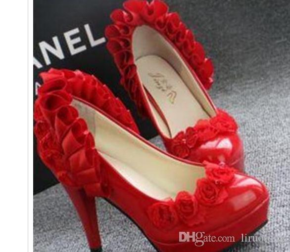 Bride shoes lace stiletto waterproof Xiuhe women shoe cheongsam wedding shoes Bridesmaid Wedding@36