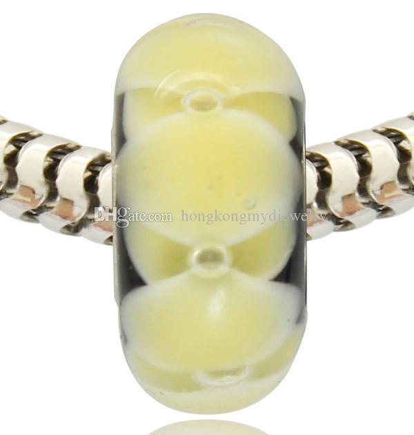 Vendita al dettaglio all'ingrosso di nuovo arrivo placcato argento tubo di vetro di Murano Murano Glass Charm Bead per bracciale Pandora