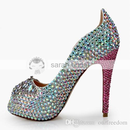2019 Yeni Kristal Düğün Ayakkabı Ile Rhinestone Peep Toe Platformu Yüksek Topuk Özel Çok renkli kadının Parti Balo Akşam Gelin Ayakkabıları MA0367