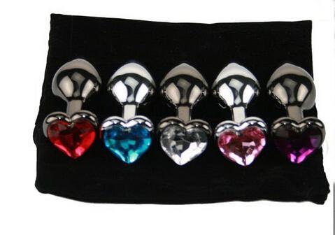 Форма сердца металл анальный плагин попки / попой бусины из нержавеющей стали Кристалл ювелирные изделия продукты секса 80 * 30*33 мм DHL