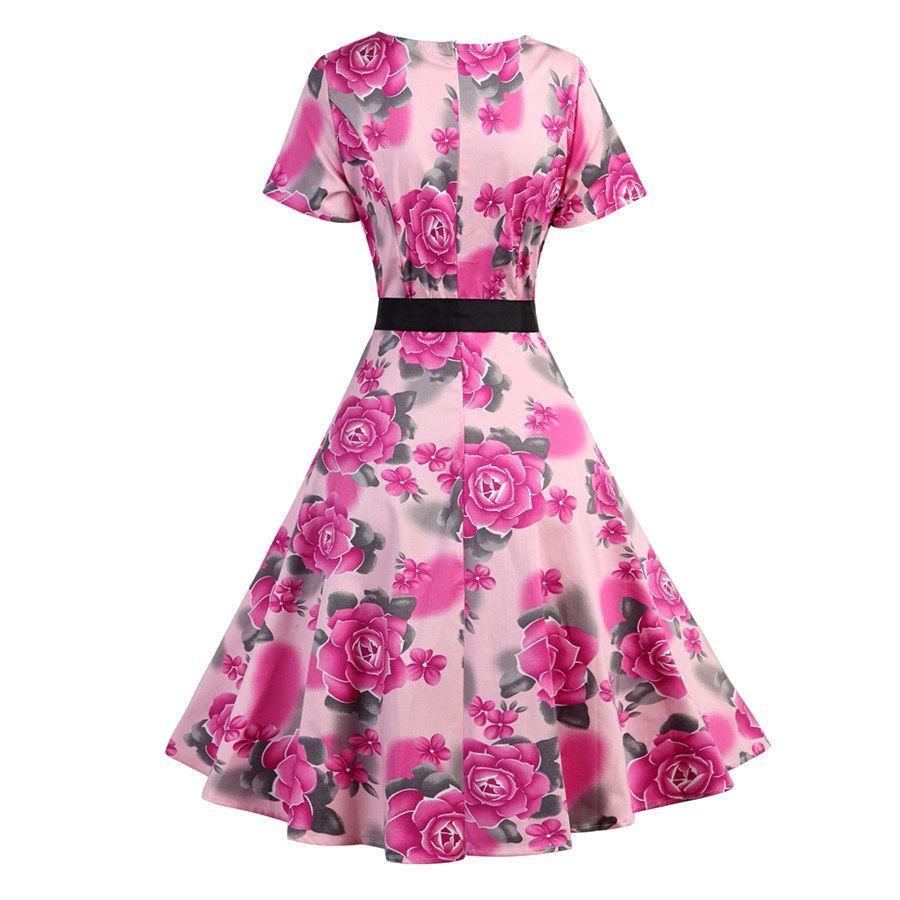 Compre Mujeres 1950s 60s 80s Vintage Floral Impreso Causal Vestidos ...