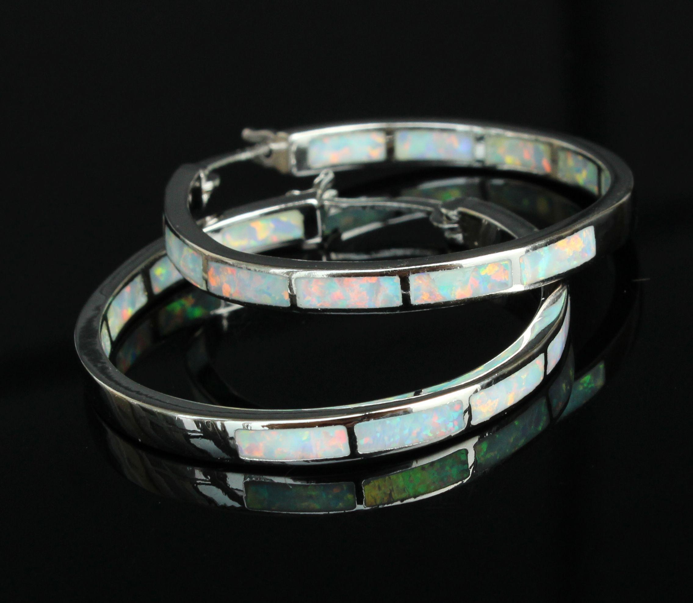 2018 charming large blue white fire opal hoop earrings for