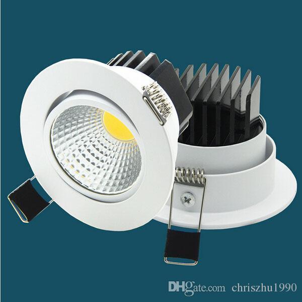 Pode ser escurecido LED Downlight COB levou recesso teto holofotes 5W / 7W / 9W / 12W Decoração de teto LED Lâmpada AC85-265V