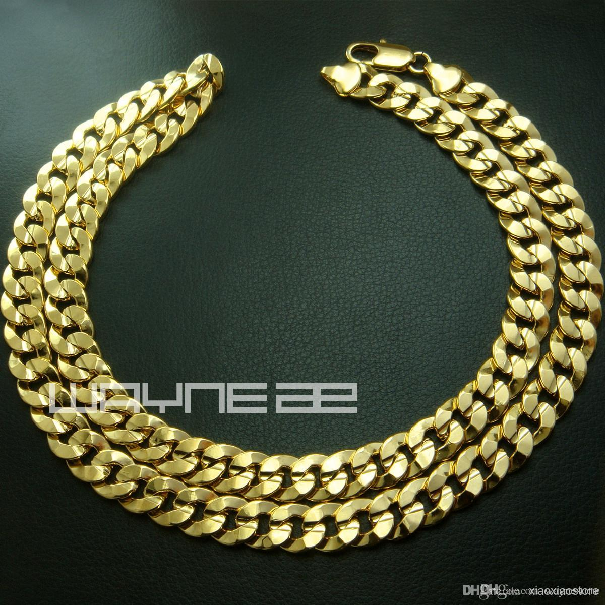 18k yellow gold GF mens womens solid chain Necklace w/ curb ring link N222