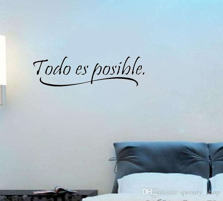 2017 Fashion Spanish Wall Quotes Words Todo Es Possible Wall Papers