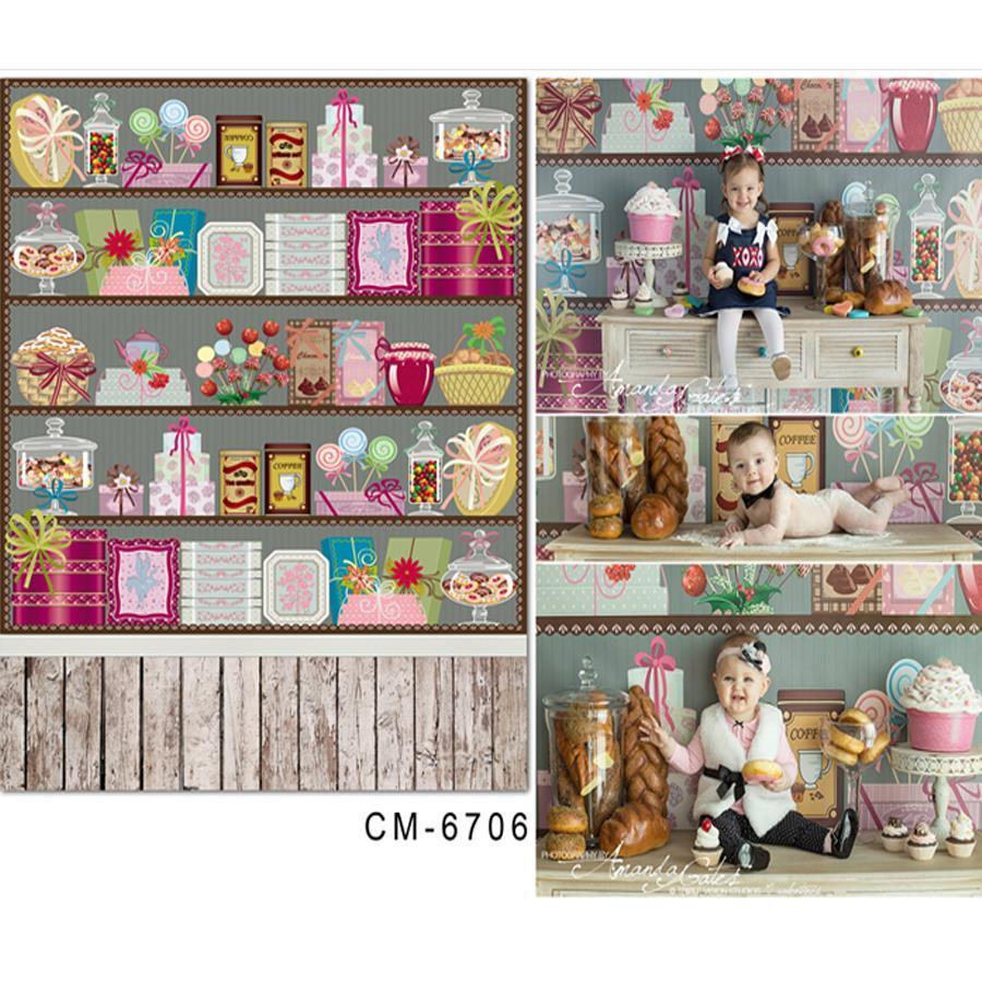 pano de fundo da fotografia bebê dos desenhos animados candy display fotografia 5x7ft (150x220cm)
