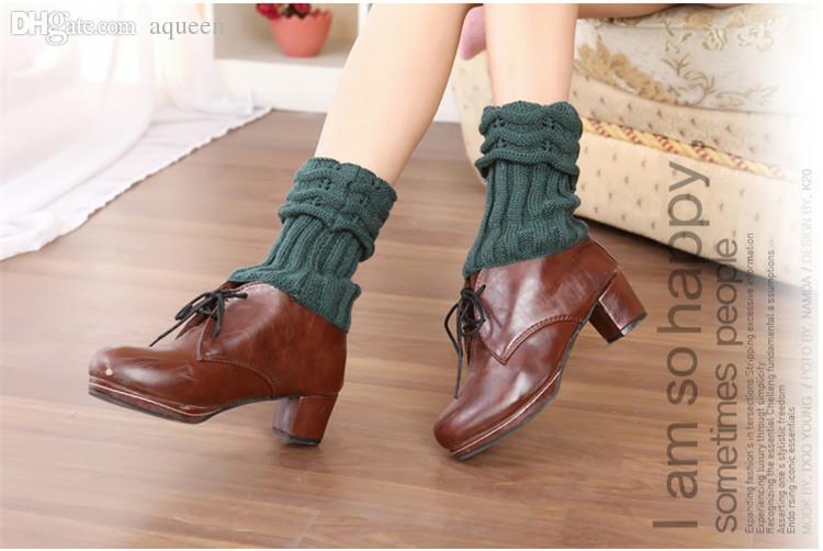 Jambières en gros à la mode pour les femmes en tricot jambières chaudes au-dessus du genou bottes chaussettes pieds chaussettes