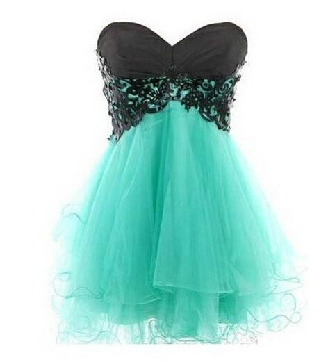 Fashion Mint Green Strapless Homecoming Dresses With Black Lace Top ...