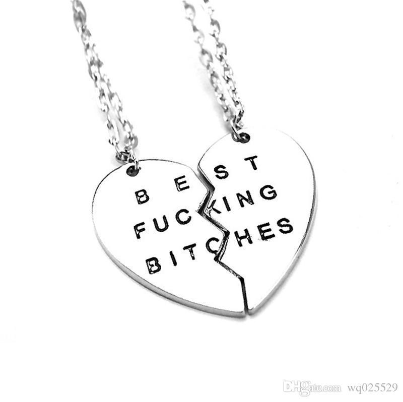 Gratis verzending nieuwe stijl mode gebroken hart 2 delen zilver beste teven hanger ketting sieraden voor vrouwen