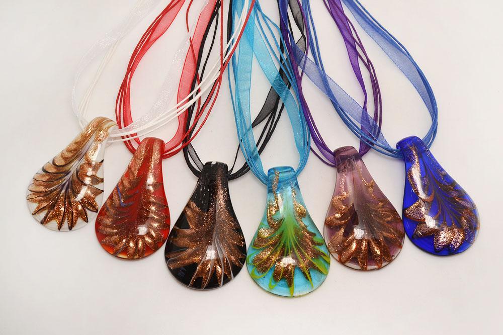 vendita all'ingrosso 6 pezzi colore misto italiano goccia veneziana trasparente pendente millefiori in vetro murano pendente 3 + 1 collane di seta nl0171m * 6