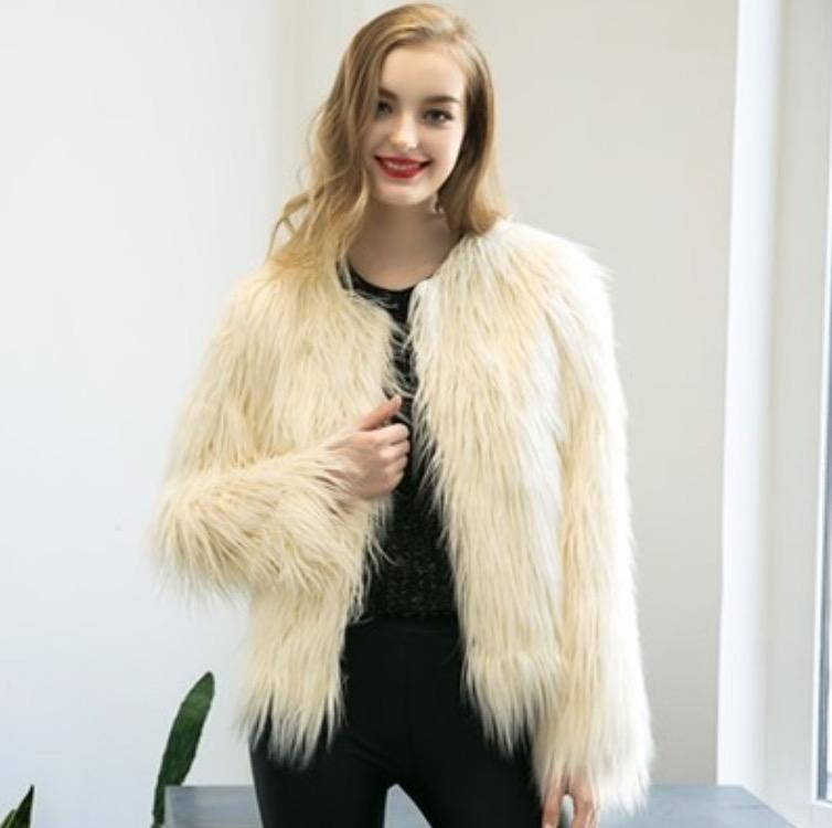 Wholesale- 2017 New Arrival Winter Jackets Women Coats Tops Women Long Sleeve Fur Open Stitch Women Casual Clothes Plus Size Free Shipping