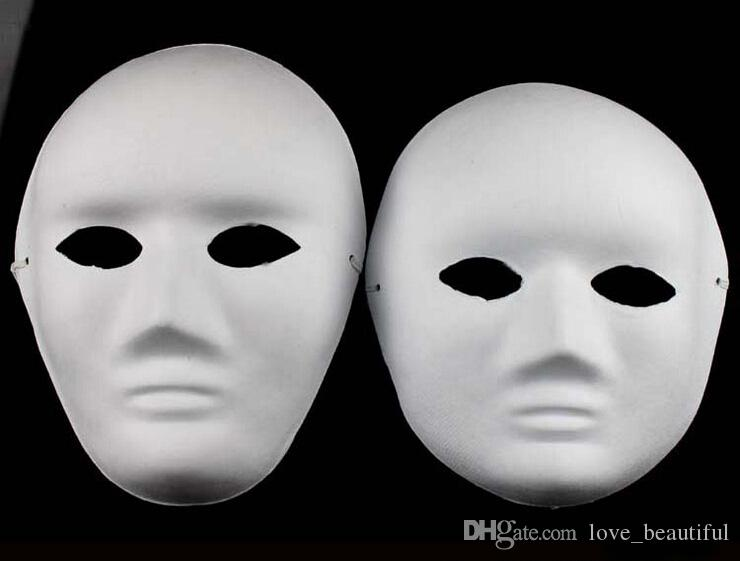 Unpainted Thicken man Women Blank Masks For Decorating Environmental Pulp Full Face Mask DIY Fine Art Painting Masks 10pcs/lot