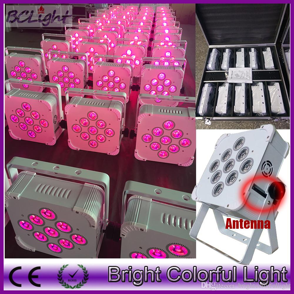 (10lights+1 fly case/lot) Hi-Quality newest 9*18W 6in1 RGBWA+UV Battery Wireless Flat Led Par Lights DMX 512 Battery Slim Led Par Lights