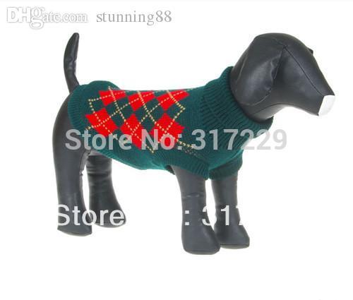Großhandel-FashionGreen Pet Dog Puppy Pullover Rollkragenpullover Strickwaren Bekleidung Sz XS S M L XL