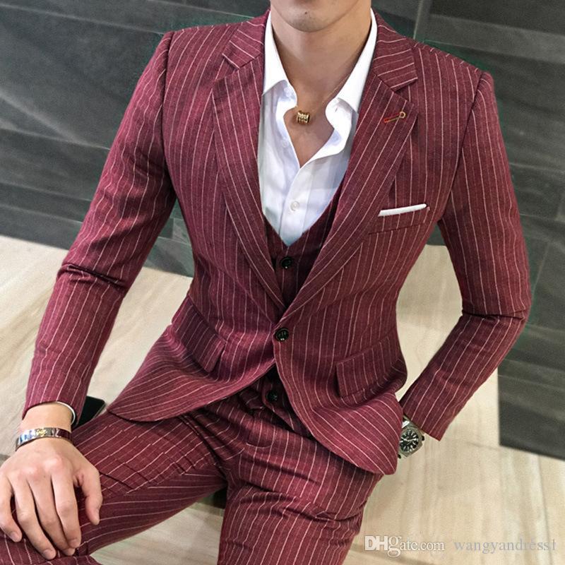 Neue stil Maßgeschneiderte Nadelstreifen Hochzeit Anzüge Bräutigam Smoking stattlicher Anzug Formelle Anzüge Best Man Groomsman anzüge (Jacke + Pants + Westen)