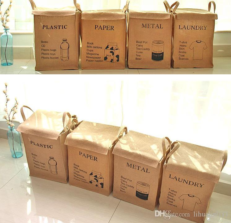 Wholesale 1 PCS Cotton Linen Dirty Clothes Storage Bucket Square Jute Debris Collection Basket Home Organization