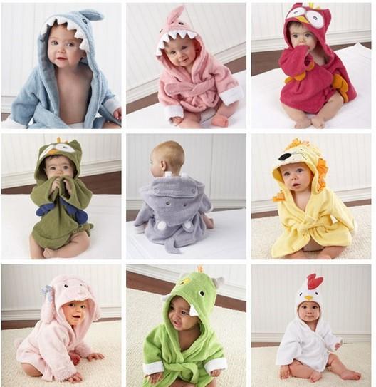 Retail-10 Designs Hooded Animal modeling Baby Bathrobe/Cartoon Baby Towel/Character kids bath robe/infant bath towels