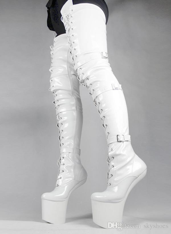 buy \u003e white thigh high boots no heel