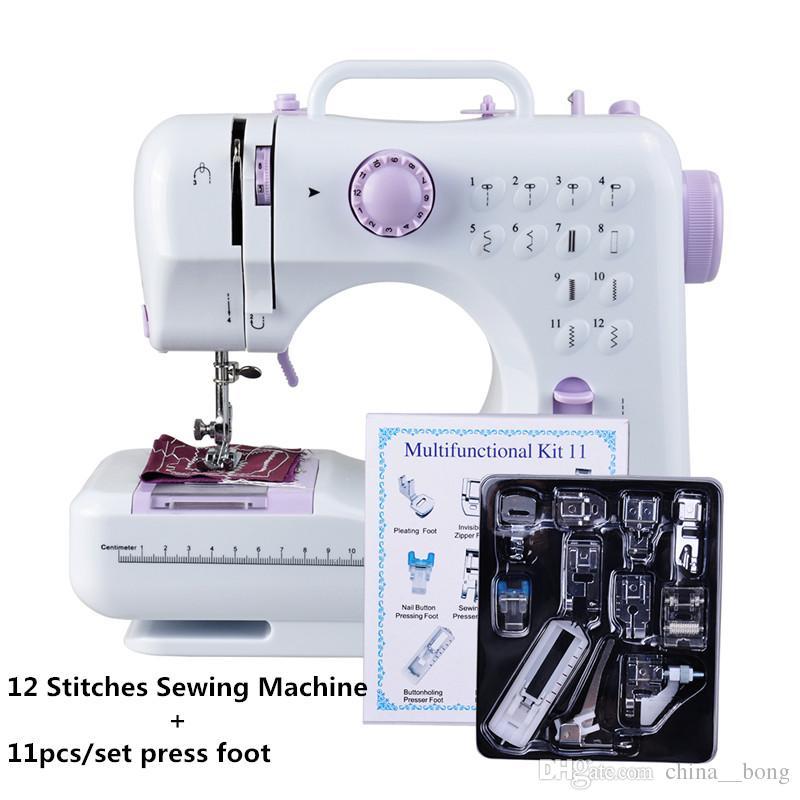 Mini Máquina De Costura 505A 12 Pontos Substituíveis + 11 pc Calcador Fonte de Alimentação LEVOU Luz de Costura classes