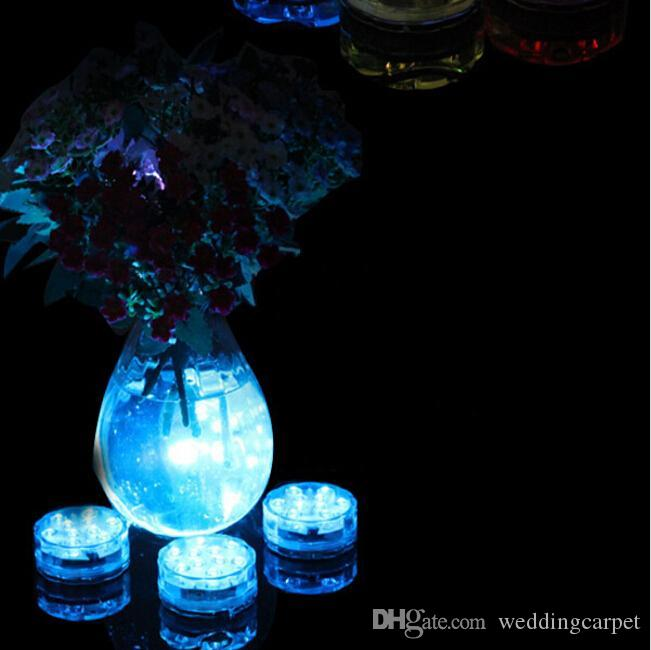 RGB Multi colores Mando a distancia 16 colores sumergible LED a prueba de agua, base de jarrones LED, luz submarina colorida