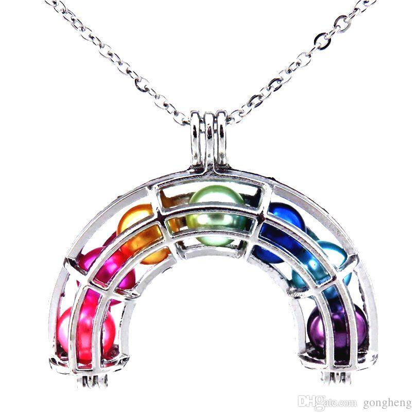 """Collana con ciondolo arcobaleno in argento con gabbia di perle Ciondolo con ciondolo arcobaleno 20 """"Catena in acciaio inossidabile SENZA Ostriche Akoya"""