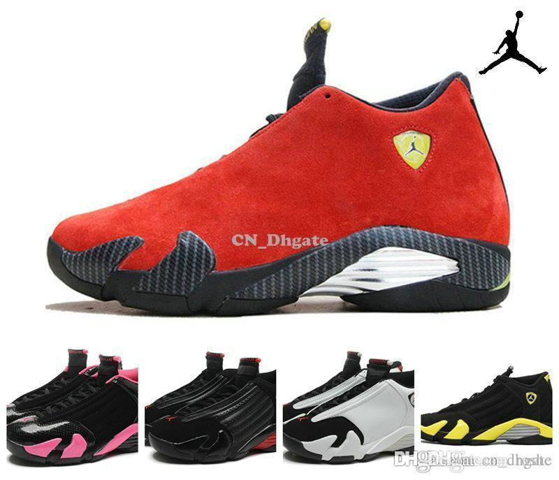 compre zapatos negro rosa hombres mujeres de baloncesto nike air jordan 14 retro trueno bred