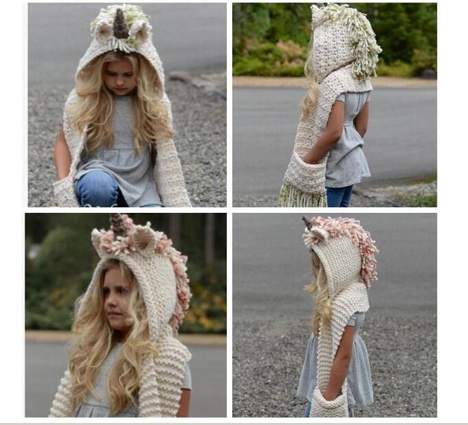 Crianças unicórnio cachecol cap 2 em 1 crianças infantil quente malha chapéus mais quentes inverno gorro chapéu borlas cap