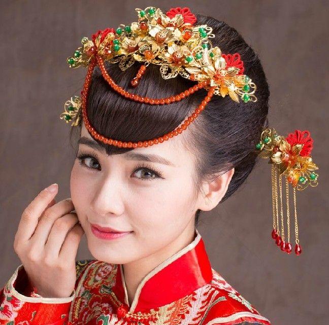 웨딩 신부 머리 장식 빈티지 중국 스타일 파티 고대 티아라 골드 머리띠 진주 크라운 꽃 새로운 미인 쥬얼리 헤어 액세서리