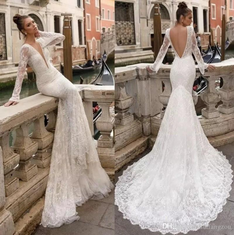 Vintage Full Lace Berta Wedding Dress Sexy Backless Mermaid Sheer Long Sleeves Plunging V Neck Custom Made Wedding Gowns