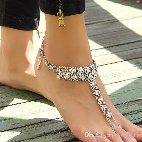 Gypsy antique argent turc fleur déclaration cheville Ankle Bracelet plage pied bijoux ethnique Tribal Festival bijoux