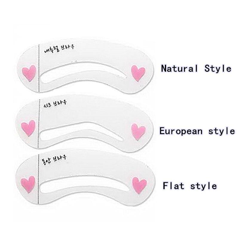3 Arten Augenbraue Stencis, Pflegenbrauen gemaltes vorbildliches Kit DIY Schönheits-Augenbraue-Schablone, Augenbraue, die Werkzeug für Verfassung anredet