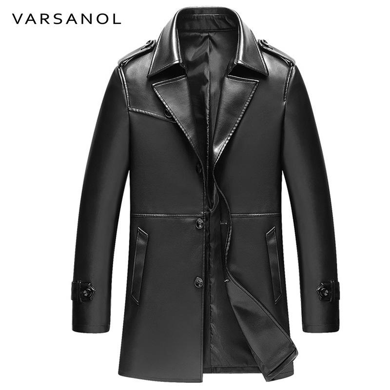 Toptan-Varsanol Uzun Siper Mens PU Ceketler Coats Rüzgarlık Deri Ceketler Tam Kollu Sonbahar Turn-Aşağı Yaka Düğmesi Marka Giyim