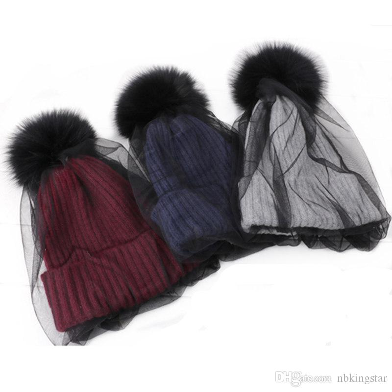 Faux Fur Pom Pom With Mesh Lace Beanies Hat Winter Warm Knitted Hats For Women Fashion Veil Skullies Caps