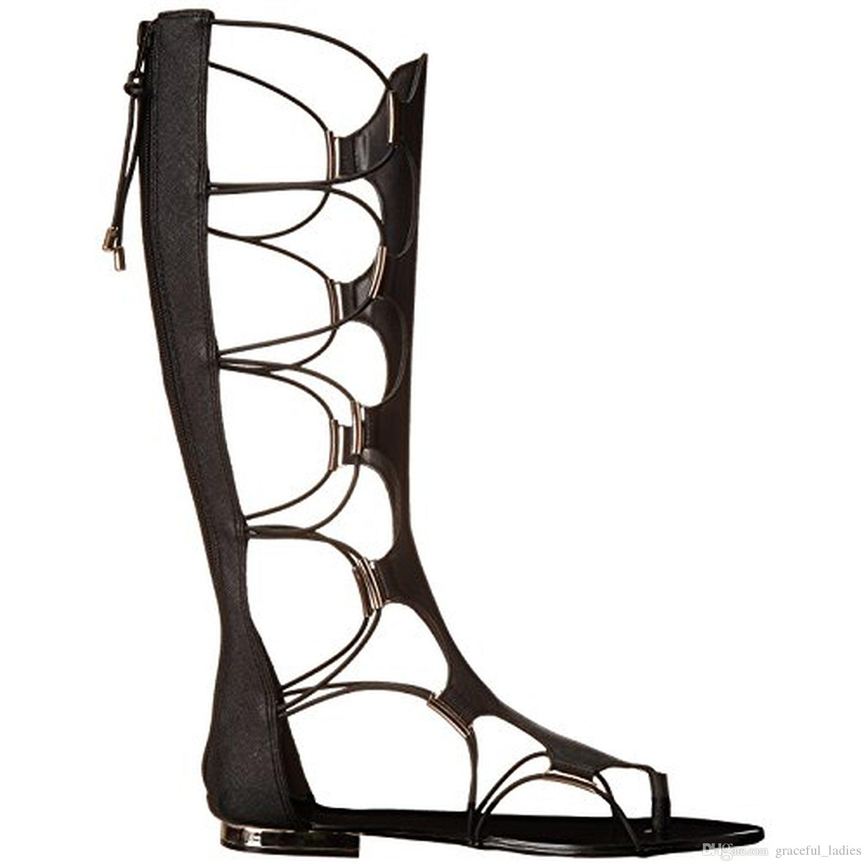 Womens sandals that zip up the back - Black Knee High Flat Summer Boots For Women Lace Up Criss Cross Straps Flat Women Sandals