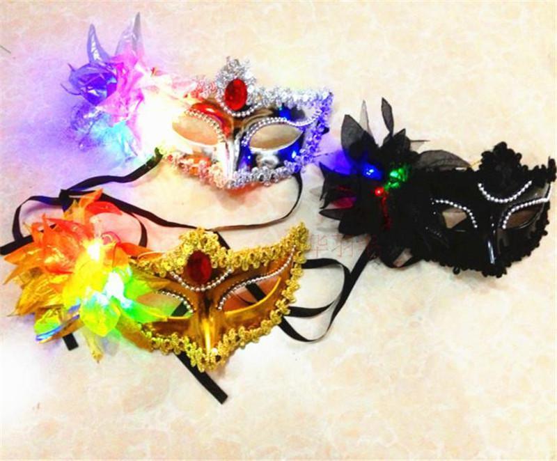 Italia Nuovo Stile LED Venezia Shiny Maschere Lampeggiante Principessa Maschera Maschera di Danza Maschera Placcatura Laterale Fiore Puntato Maschere Luminose Maschere Mascherate