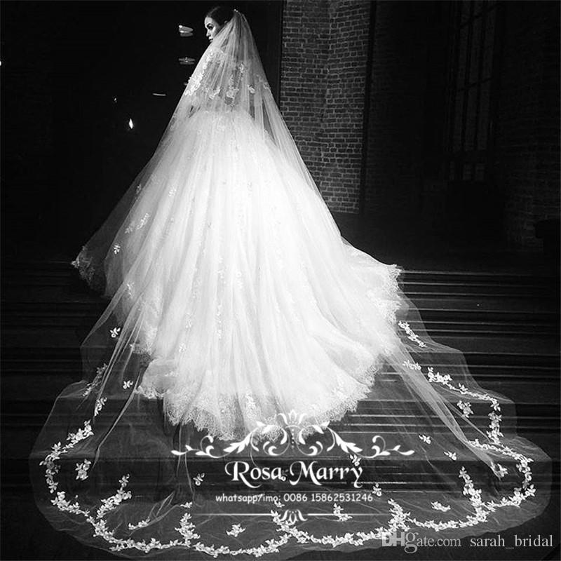 Prinzessin Vintage Spitze 3M Kathedrale Zug Brautschleier 2020 Eine Ebene Weiß Elfenbein Land Strand Kirche Günstige Hochzeit Schleier Brautzubehör