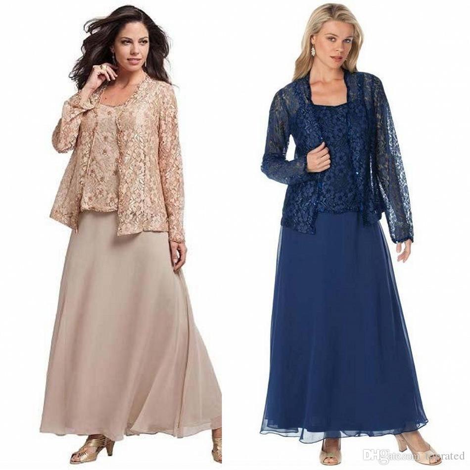 2019 três peças mãe de vestidos de noiva calça ternos mangas compridas rendas tornozelo comprimento da noite vestido de festa vestidos de festa de casamento do vintage do vintage