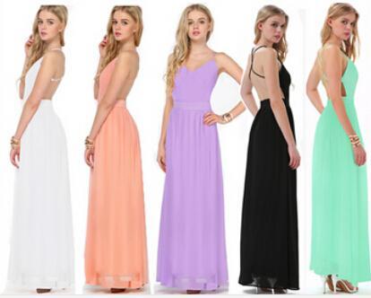 Nowe Kobiety Różowe / Zielone / Biały / Czarny / Fioletowy Spaghetti Paski V-Neck Maxi Długość Wieczór Party Backless Szyfonowa Dress LQ9290