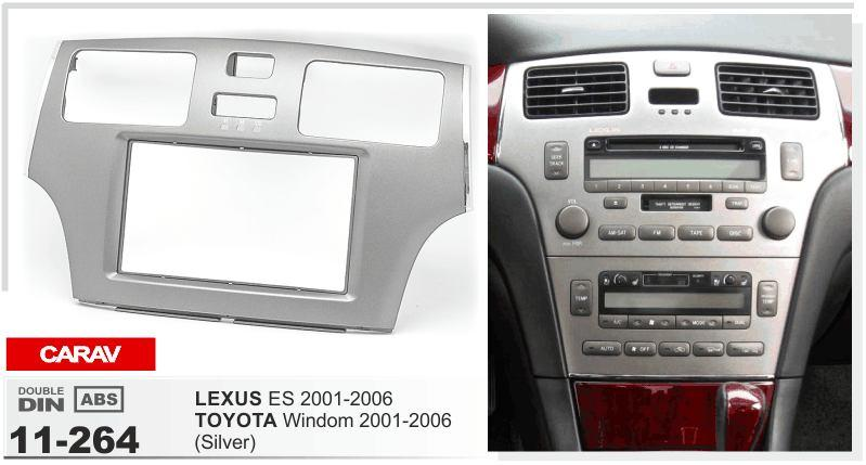 CARAV 11-264 top quality facia face dash install fitting trim kit for LEXUS ES 2001-2006 / TOYOTA Windom 2001-2006 (Grey) 2-DIN