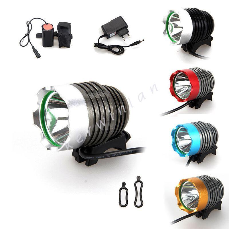 1800Lm CREE T6 LED 3 modos Recargable colorido bicicleta faro faro delantero de la lámpara de la lámpara con paquete de batería cargador de la venda