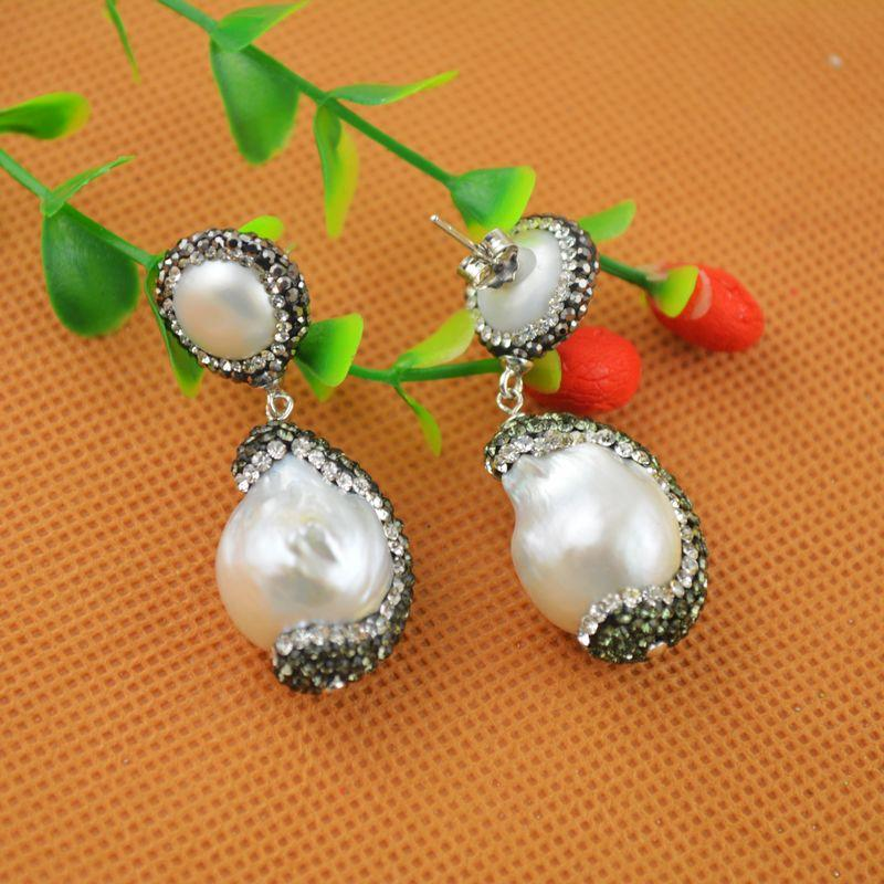 NEW Fashion ~ 4Pair Silver White Color Pearl With Rhinestone Crystal Dangle Earrings Charms Jewelry Finding