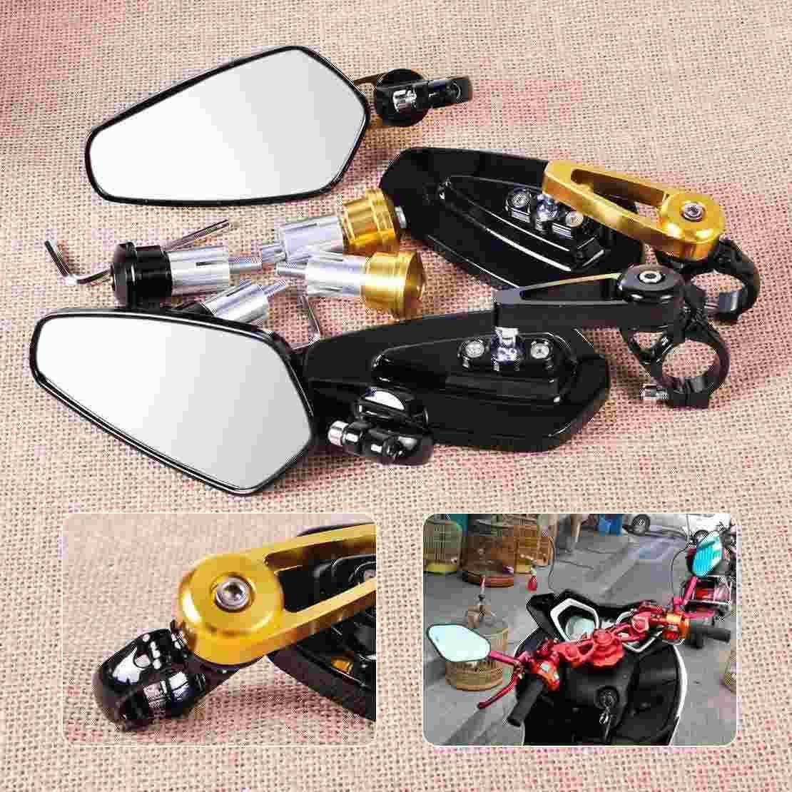 "1 Pair 7/8"" 22mm Motorcycle Motorbike Bar End Side Rearview Mirrors for Harley Yamaha Honda Kawasaki Suzuki Agusta ATV"