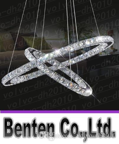 送料無料ステンレススチール2サークル85W LED K9クリスタルシャンデリア熱い販売ダイヤモンドリングモダンなペンダントランプLLFA2480F