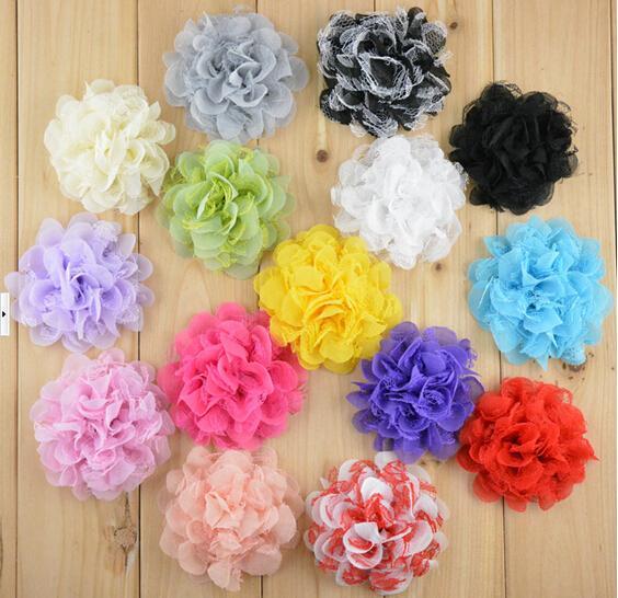 """15% de descuento venta caliente 4 """"15 colores Artificial tela flores diademas Shabby gasa flores de encaje de malla accesorios para el cabello 100 unids xf envío de la gota"""