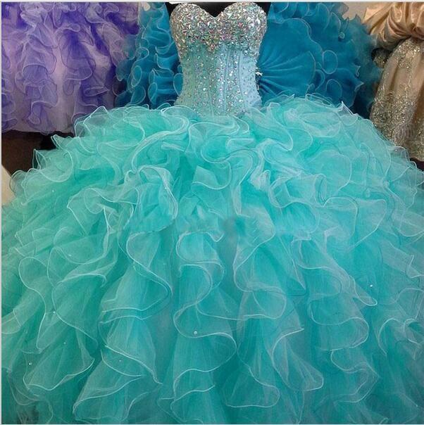Vestidos De Menina Azul Turquesa Quinceanera Dress Vestido De Baile Querida Elegante Cristais Meninas 15 Anos De Idade Dress Para 16 Swee 16 Baile De