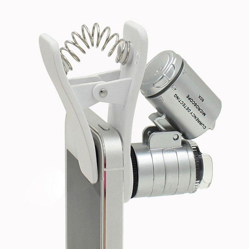Microscópio do telefone móvel ampliador 60x zoom óptico telescópio câmera clip universal led para iphone 6 5s 4s samsung lente
